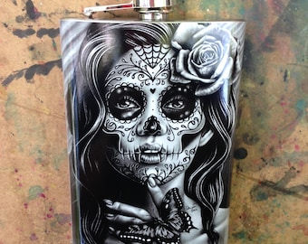 Tattoo Art Stainless Steel 8 oz. Hip Flask Serenity Black and White Tattoo Sugar Skull Girl Day of the Dead Rose Flask Lowbrow