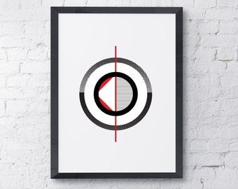 Red Circles 3 Modern Wall Art Instant Download / Contemporary Art / Wall Print / Art Prints / Wall Art / Printable Art/Black and White Print