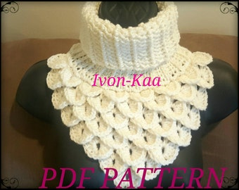 Crochet pattern Woman Dragon Cowl - Dragon Neck Warmer PDF pattern, Crocodile stitch cowl, Instant download