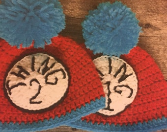 handmade crochet Dr. Seuss thing one and thing two baby beanie hats, thing one and thing two character hat, in three styles