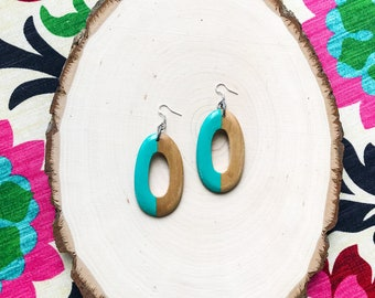 Hand Painted Wood Earrings- Seafoam Green