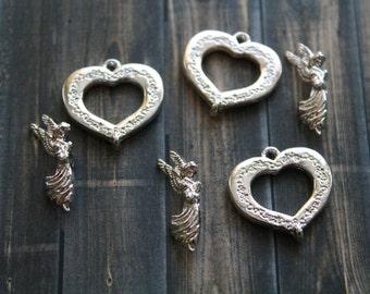 Silver Toggle Clasp - Silver Decorative Clasp - Silver Heart Shaped Toggle Clasp