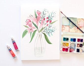 Astralomeria- Original Floral Watercolour