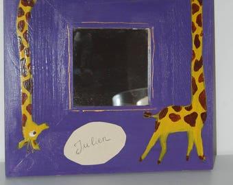 Personalized name giraffe mirror wood acrylic