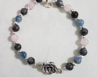 Labradorite, rose quartz and kyanite bracelet