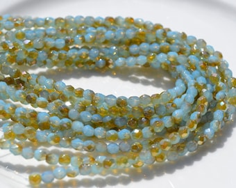 Milky Aquamarine Blue and Sand Luster 4mm Faceted Fire Polish Czech Glass Beads   50