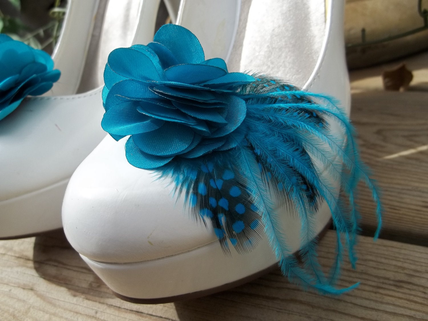 Bridal Shoe Clips Teal satin flower shoe clips Feathered