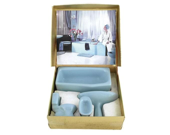 Porcelain Miniature Bathroom Set. Mid Century Enameled French  Ceramic Salesman Sample by Selles. Dollhouse Blue Bathroom Decor.