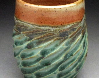 """Carved Shino and Aqua Cup """"Made To Order"""""""