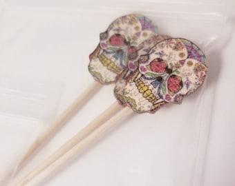 6 Skull,  day of the dead,  sugar skull cupcake toppers / toothpicks