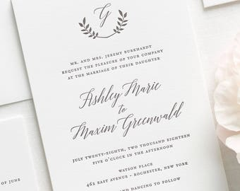 Wreath Monogram Letterpress Wedding Invitations - Sample