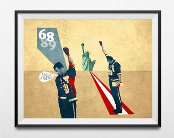 Tommie Smith - John Carlos - Black Power Salute - Mexico 68 olympics - Human Rights - Poster