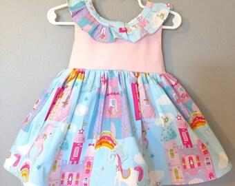 unicorn dress, unicorn baby dress, first birthday dress, unicorn themed party, unicorn birthday dress, twirl dress, unicorn party dress