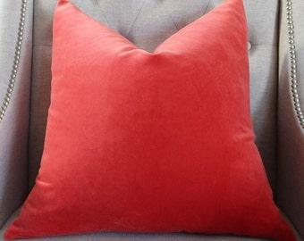 """Decorative Designer pillow cover - 20""""X20"""" - Kravet cotton velvet in tangerine"""