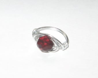 Garnet Faceted Glass Silver Wire Wrapped Ring