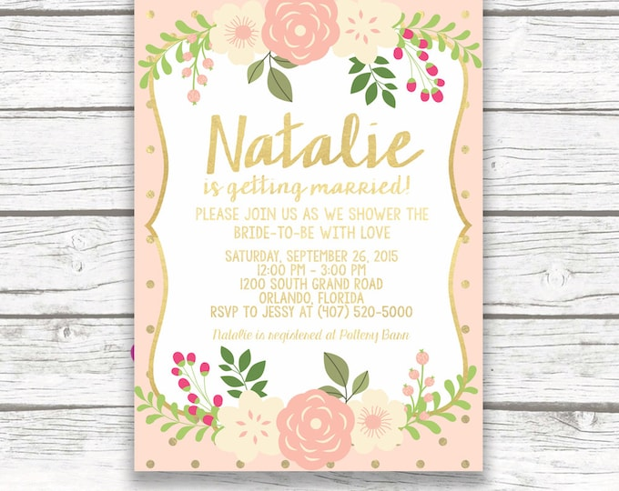 Peach and Gold Foil Floral Bridal Shower Invitation w/ Matching Back, Pink Peony Invite, Rustic Bridal Shower, Printed or Printable Invite