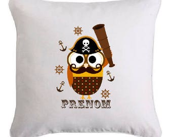 OWL PIRATE pillow personalized with text of your choice