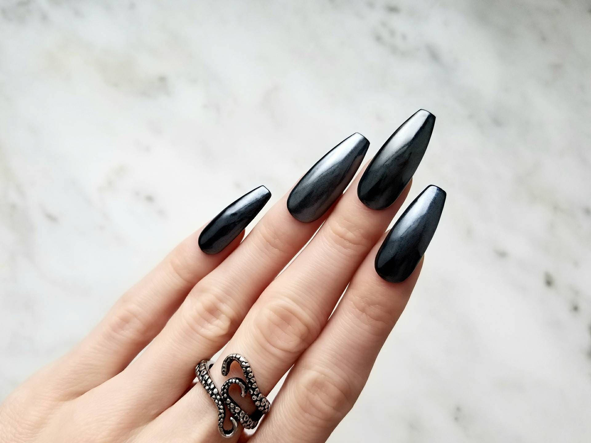 Dark chrome Press on nails - Any shape - Reusable - Glue or nail ...