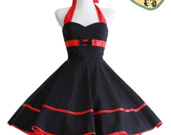 50's vintage dress full skirt black red dress rare Tailor Made after your measurements #0009