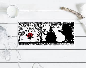 The Beauty of a Beast Signed PaperCut Print • Beauty and the Beast • Fairytale Wall Art • Paper Cut Quote