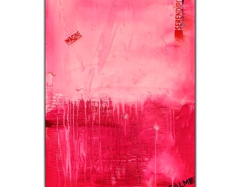 Pink Abstract Art on Canvas,  47x32 inch, Original Modern Wall Art . Minimalist art,Home  Decor Painting,  !