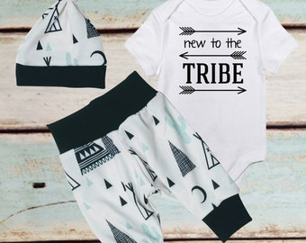 Baby Boy Coming Home Outfit, Nursery Decor, Baby Shower Ideas, Gender Reveal, Pregnancy Announcement, teepee outfit, newborn boy, clothes