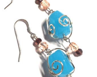 Wire Wrapped Blue Quartz Beaded Earrings