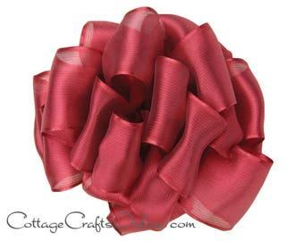 "Wired Ribbon, 2 1/2"", Burgundy Red Semi-Sheer, TWENTY FIVE Yard Roll, Offray ""Prelude Red Plum"" Wedding Craft Wire Edged Ribbon"