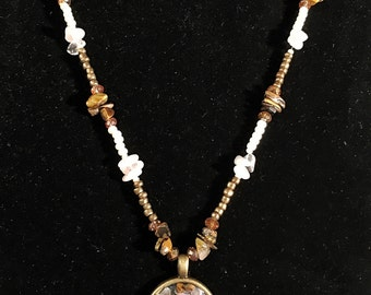 Tiger's eye and Rose quartz beaded necklace