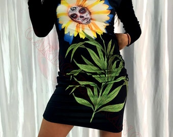 Long sleeves dress, Black dress, Flower of the dead, Catrina sunflower, Catrina dibujo, Sugar skull tattoo