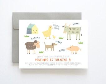 Farm Birthday Invitation, Farm Animal Birthday Invite, Barnyard Invitations, Barnyard Birthday Invitation, Farm Birthday Invite, Digital