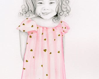 Personalized Portrait Personalized Gift Mom Daughter Custom Portrait Illustrated Portrait from Your Photograph Hand Drawn Pencil Portrait