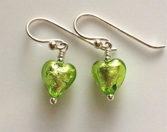 Green Venetian Glass Earrings   Glass Heart Earrings   Murano Glass   Sterling Silver Earrings