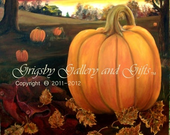 TWILIGHT HARVEST, Original Oil Painting 30 x 40, Fall pumpkins, RedRobinArt, Grigsby Gallery and Gifts