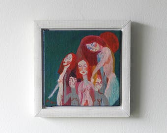 10x10 cm ethereal folky painting - FRAMED