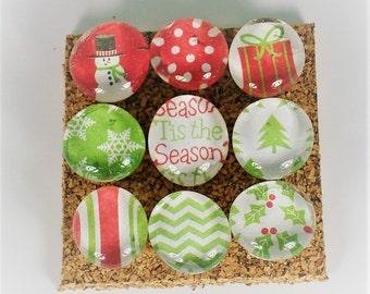 Push Pin Set -  'Tis The Season  Set Of 9 Decorative Thumb Tacks Cork Board Pins
