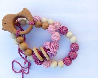 Nursing set Teething set Nursing necklace and teething Toy set  Crochet teething necklace Breastfeeding Wooden necklace Mother's day sale
