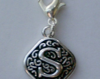 Vintage  Letter S  Dangle  Lobster Claw for Necklace - Bracelets - Key Chains