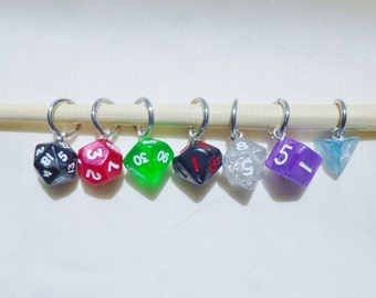 Mini Rainbow Dice Stitch Markers, D&D Stitch Markers, D20 knitting, Dice Knitting, D20 Stitch Markers, Pathfinder, DnD Markers,