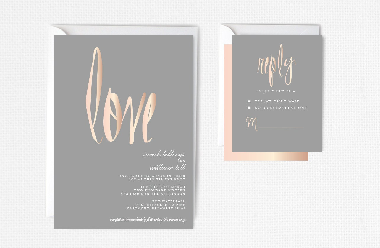 Rose Gold Wedding Invitation Blush Gray Elegant Modern