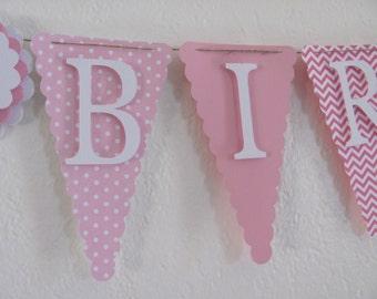 Pink and White Birthday Banner, Happy Birthday Banner, Happy Birthday, Girl Banner 1st Birthday