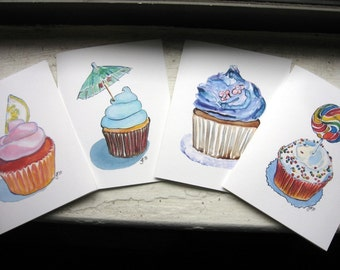 Cupcake Notecards - Stationery - Greeting Cards - Cute Watercolor Art Cards, (Ed. 3), Set of 4