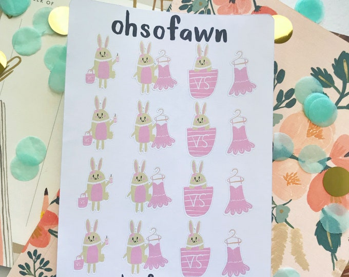 Shopping Bunny Stickers