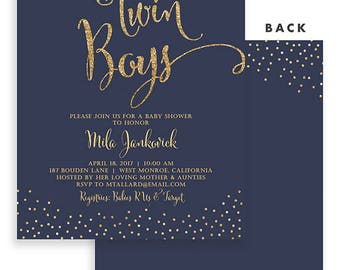 Printable twin boy baby shower invitation twin baby boys