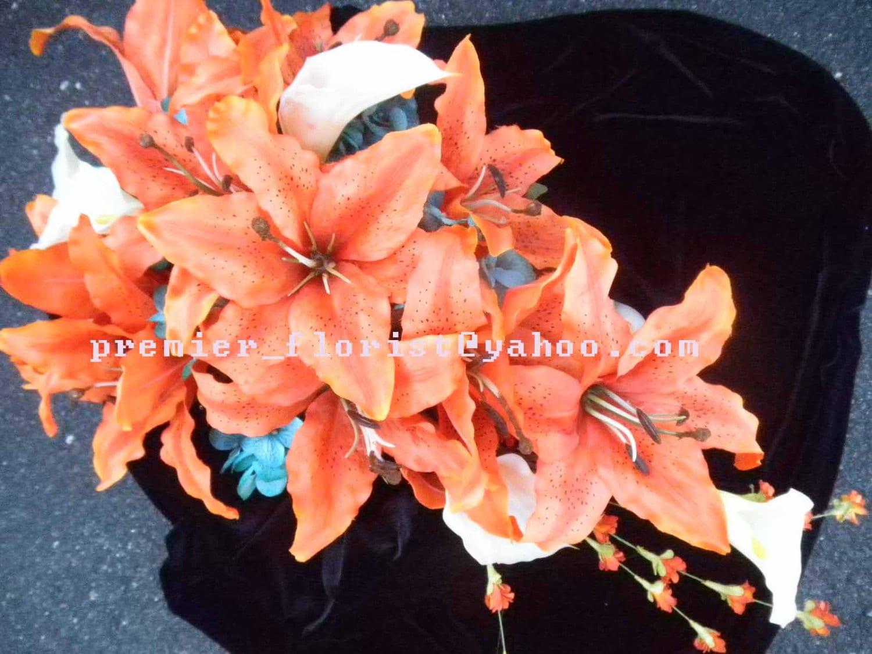 Stargazer Lily CASCADE BRIDAL BOUQUET. White Real Touch Calla