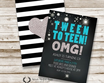 Thirteenth Birthday, Tween to Teen Invitation, 13th birthday invitation, Teenager, Teal and Black, Birthday Party, DIGITAL FILE ONLY