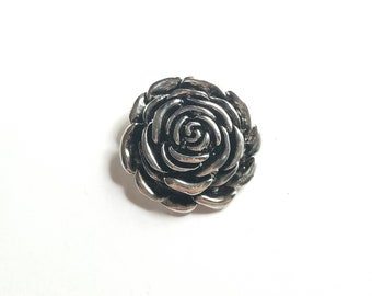 Silver Flower Pendant, Jewelry Making Supplies, Flower Focal, Wholesale Findings, Silver Rose Pendant, Wholesale Pendants, Floral Pendant