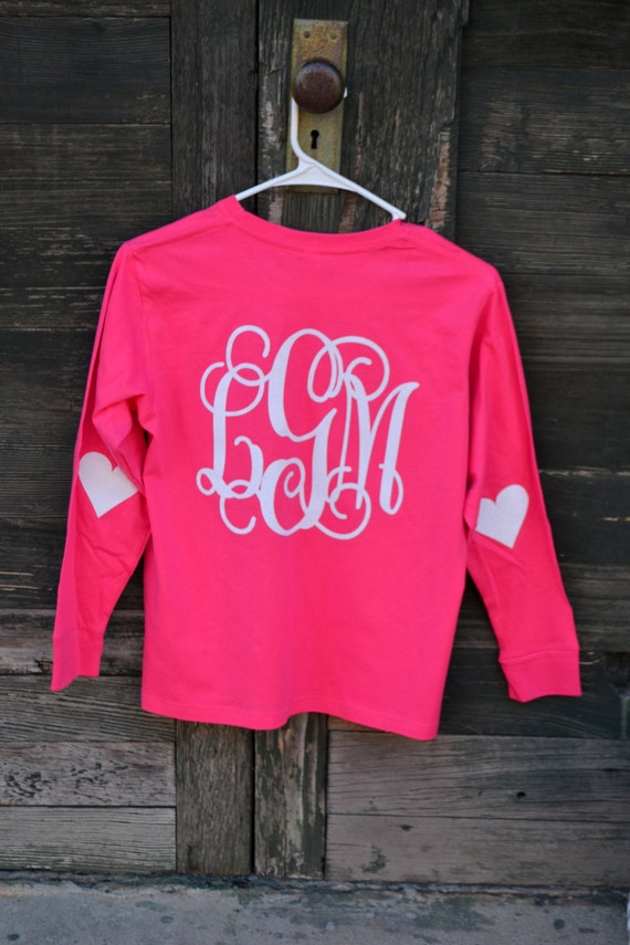Youth Long Sleeve No Pocket Heart Patches Monogram Shirt