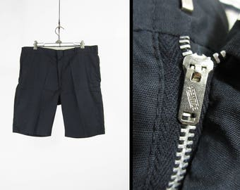 Vintage 70s Navy Blue Shorts Flat Front Cotton Summer Menswear - Size 36