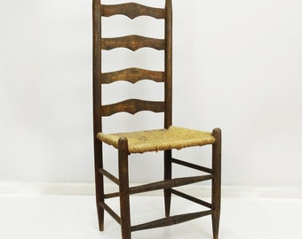 Beautiful Early American Ladder Back Chair, Woven Seat